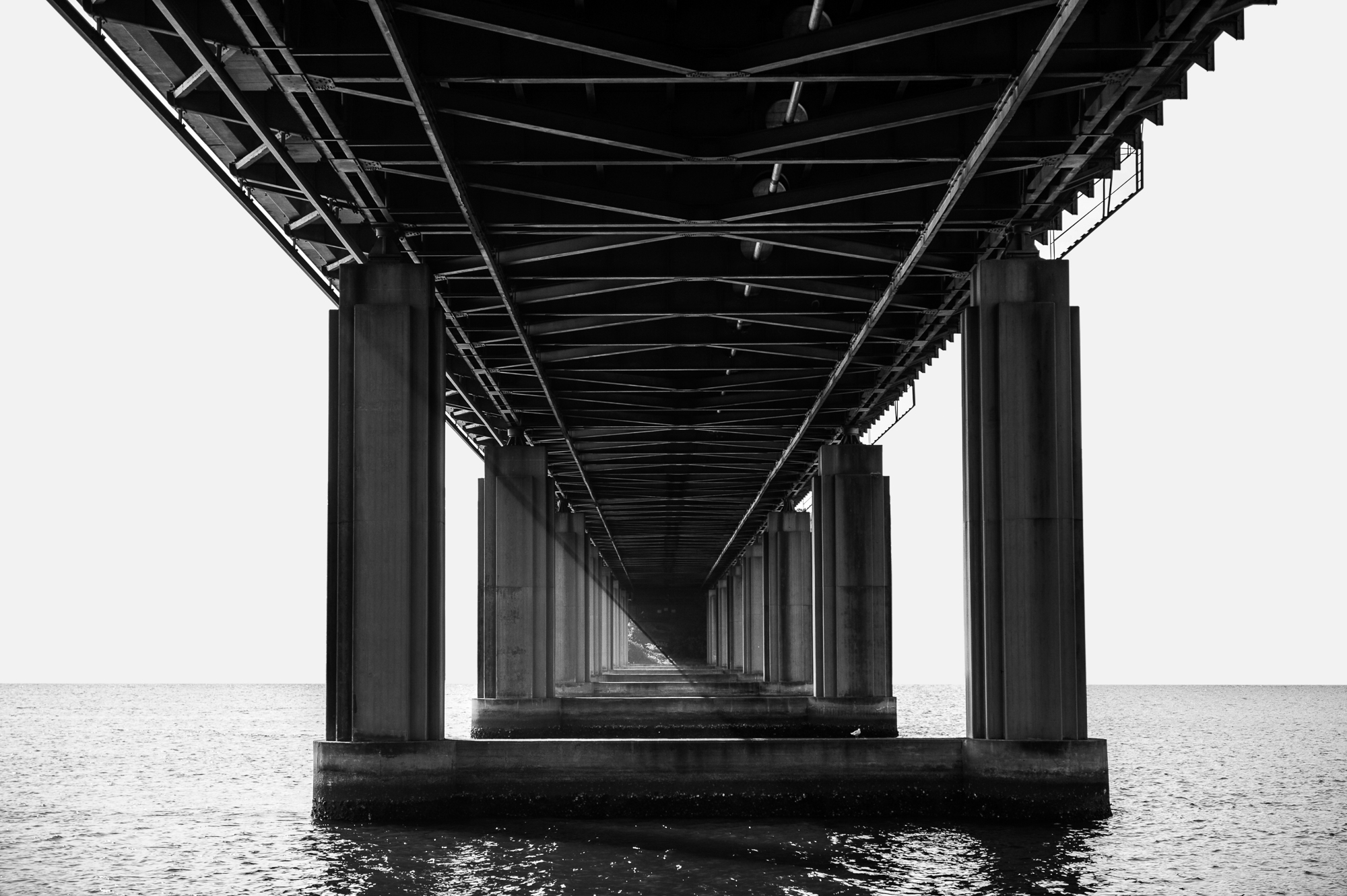 Urban photograph of underside of Iron cove bridge in Sydney Australia.